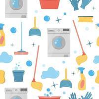 material de limpeza de casas padrão sem emenda em branco vetor
