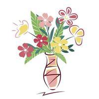 buquê de flores coloridas da primavera em um vaso vetor
