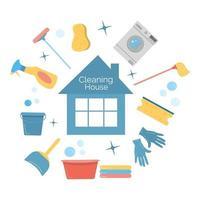 limpeza de suprimentos domésticos com bolha isolada vetor