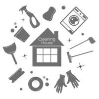 limpeza de ferramentas de silhueta de casa isoladas em branco vetor