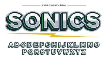 tipografia metálica maiúscula verde e metálica vetor