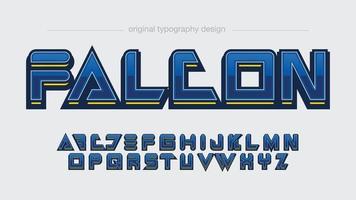 tipografia de esportes azul metálica moderna vetor