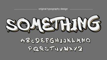 tipografia de graffiti gotejante branco vetor