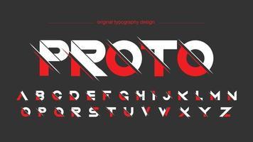 tipografia esportiva futurista fatiada em vermelho e branco vetor