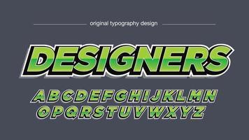 tipografia esportiva em itálico metálico verde vetor