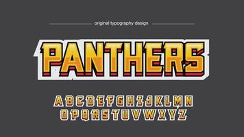 estilo de tipografia time esportivo metálico amarelo vetor