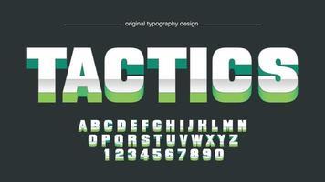 tipografia 3d prata verde vetor