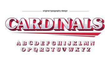 tipografia 3d de esportes vermelho e prata vetor
