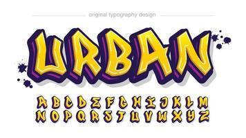 tipografia grafite moderna amarela e roxa vetor
