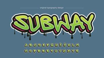 tipografia moderna de grafite em negrito verde e vermelho vetor
