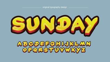 tipografia de script de pincel em negrito 3d amarelo vetor