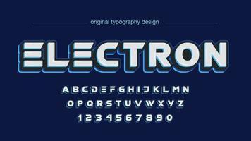 tipografia em maiúsculas futurista azul vetor