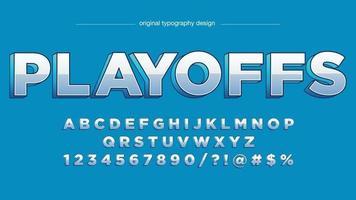 Chrome blue 3d em maiúsculas tipografia esportiva vetor