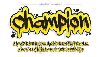 tipografia de grafite pingando preto e amarelo vetor
