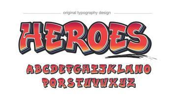 tipografia de graffiti em negrito vermelho vetor