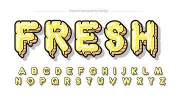 tipografia de desenho animado em letras maiúsculas com pingos amarelos vetor