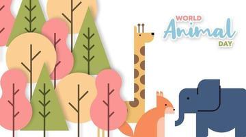 ilustração do dia mundial animal em estilo cartoon plana vetor
