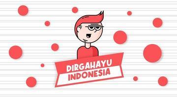 Dia da Independência da Indonésia com um personagem de desenho animado fofinho vetor