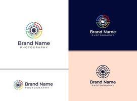 logotipo de câmera colorida criativa para fotógrafo ou estúdio fotográfico vetor