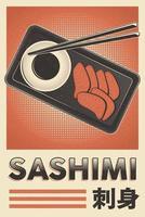 pôster retrô de sashimi de comida japonesa vetor