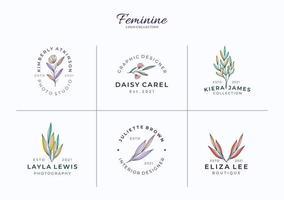 lindos modelos femininos de logotipos botânicos ou florais vetor