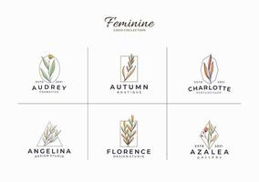 lindo modelo de logotipos botânicos minimalistas femininos vetor