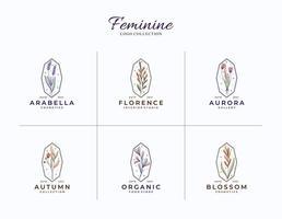 bela coleção de modelo de logotipos femininos botânicos vetor