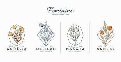 lindos logotipos de flores botânicas femininas com formas geométricas vetor