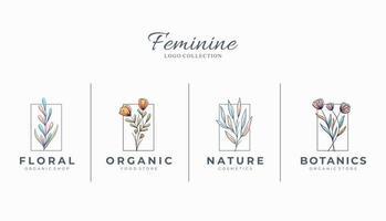 lindos logotipos botânicos femininos com flores desenhadas à mão vetor