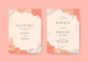 modelo de convite de casamento rosa elegante e bonito vetor