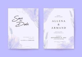 convite de casamento romântico com linda lavanda roxa vetor
