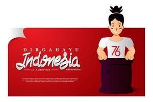 ilustração criativa banner dia da independência da indonésia vetor