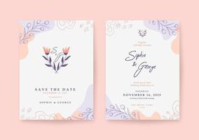 modelo de convite de casamento elegante e bonito vetor