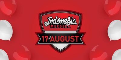 Conceito de banner do dia da independência da Indonésia, 17 de agosto vetor