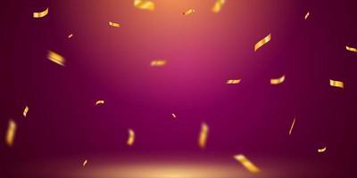 celebração com fitas de confete ouro. cartão rico de saudação de luxo. vetor