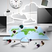 Mapa do mundo em 3D com ferramentas de escritório, nublado, vetor