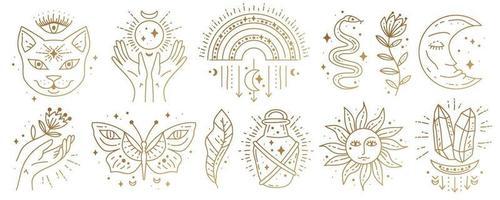conjunto de símbolos mágicos do boho. arte de linha mínima dourada. vetor