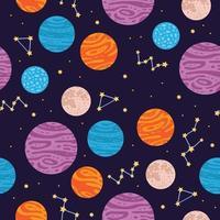 padrão sem emenda de planeta de espaço colorido em estilo cartoon. vetor
