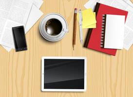 Mesa de escritório realista com objetos diferentes, ilustração vetorial vetor