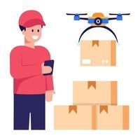 entrega drone e helicóptero vetor