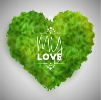 Coração de folhas verdes, vetor