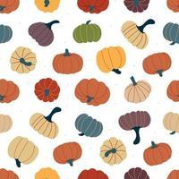 costura padrão com abóboras outonais multicoloridas. ilustração vetorial vetor