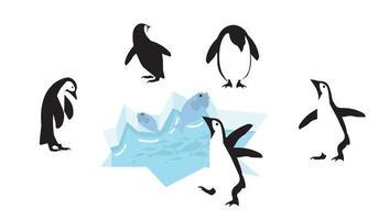 personagens pinguins felizes no bloco de gelo com peixes vetor
