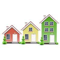 Três tipos de casas, vetor