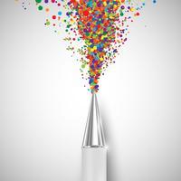 Uma caneta com formas coloridas, vetor