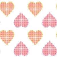 distorção de ruído de falha e padrão sem emenda de corações de meio-tom vetor