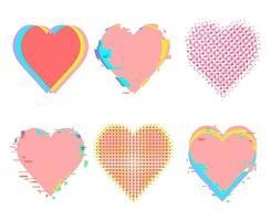 distorção de ruído de falha e conjunto de corações de meio-tom vetor