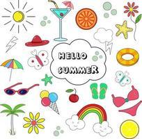 Olá ícones da coleção de verão vetor