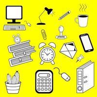 trabalho de escritório doodle ícone mão desenhar linha artística em um fundo amarelo. vetor