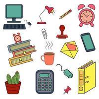 conjunto de vetor de doodle de contorno de cor de escritório.